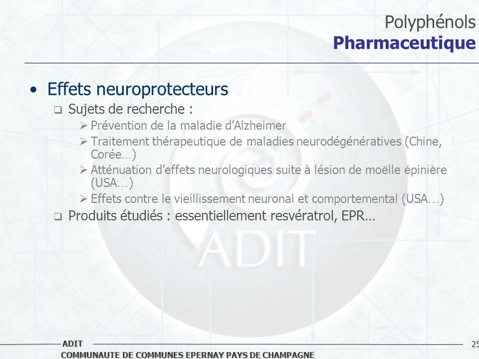 25 COMMUNAUTE DE COMMUNES EPERNAY PAYS DE CHAMPAGNE ADIT Polyphénols Pharmaceutique Effets neuroprotecteurs Sujets de recherche : Prévention de la mal