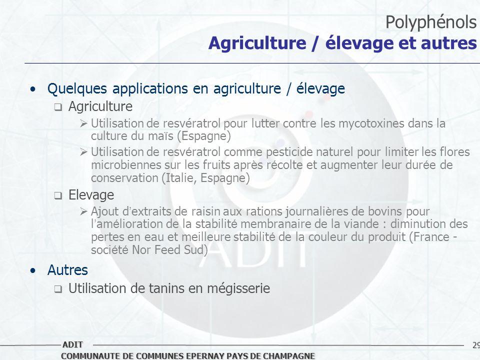 29 COMMUNAUTE DE COMMUNES EPERNAY PAYS DE CHAMPAGNE ADIT Polyphénols Agriculture / élevage et autres Quelques applications en agriculture / élevage Ag