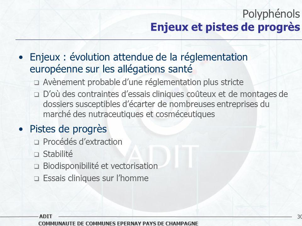 30 COMMUNAUTE DE COMMUNES EPERNAY PAYS DE CHAMPAGNE ADIT Polyphénols Enjeux et pistes de progrès Enjeux : évolution attendue de la réglementation euro