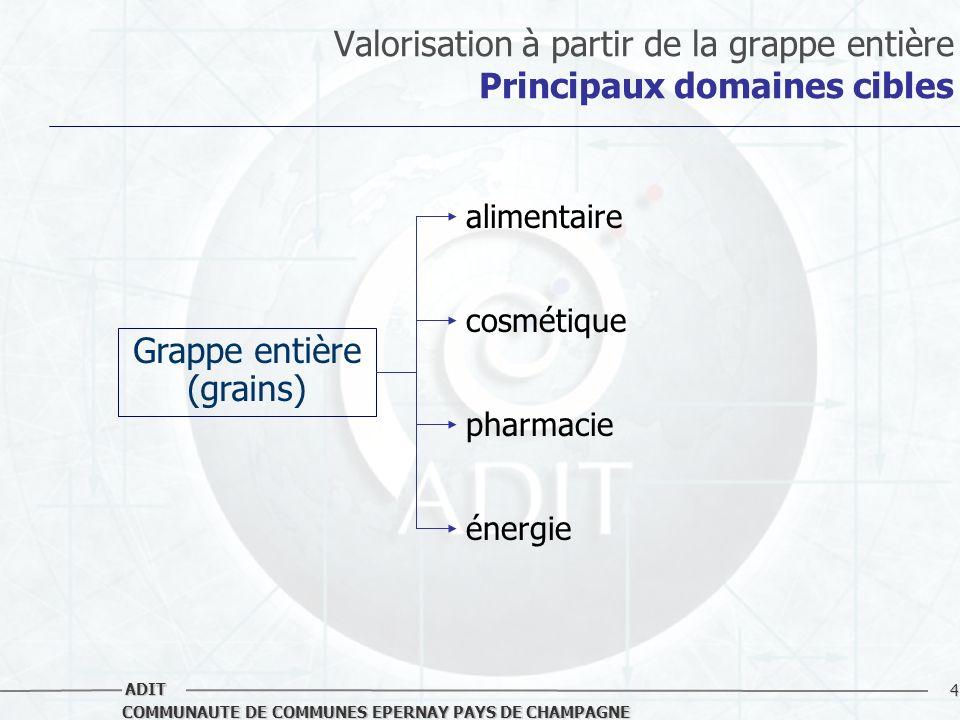 4 COMMUNAUTE DE COMMUNES EPERNAY PAYS DE CHAMPAGNE ADIT Valorisation à partir de la grappe entière Principaux domaines cibles Grappe entière (grains)