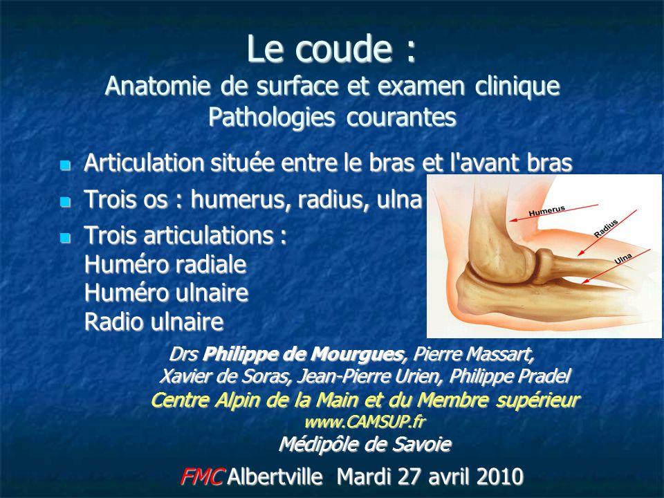 Le coude : Anatomie de surface et examen clinique Pathologies courantes Articulation située entre le bras et l'avant bras Articulation située entre le
