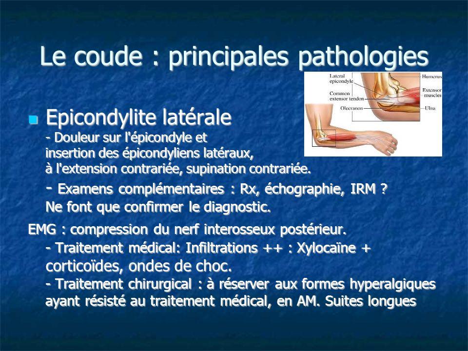 Le coude : principales pathologies Epicondylite latérale - Douleur sur l'épicondyle et insertion des épicondyliens latéraux, à l'extension contrariée,
