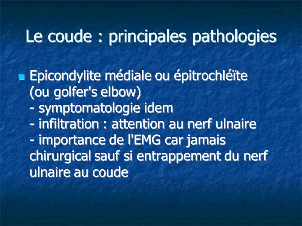 Le coude : principales pathologies Epicondylite médiale ou épitrochléïte (ou golfer's elbow) - symptomatologie idem - infiltration : attention au nerf