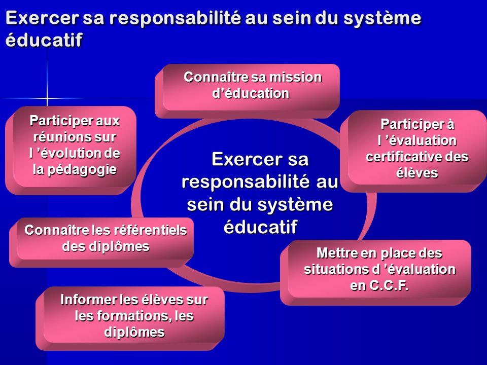Exercer sa responsabilité au sein du système éducatif Informer les élèves sur les formations, les diplômes Participer à l évaluation certificative des