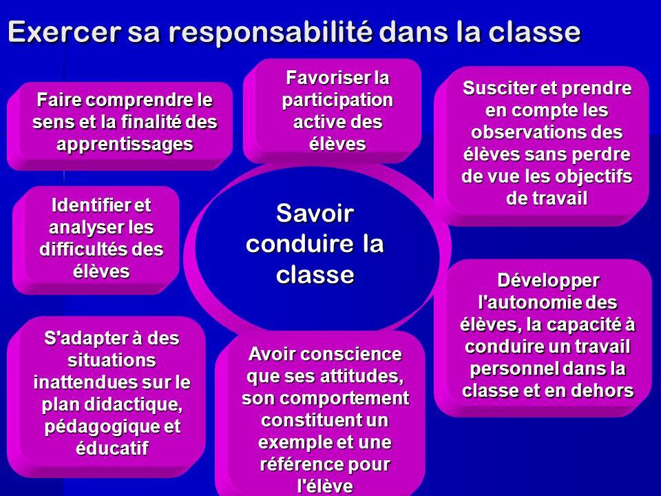 Exercer sa responsabilité dans la classe Savoir conduire la classe S'adapter à des situations inattendues sur le plan didactique, pédagogique et éduca