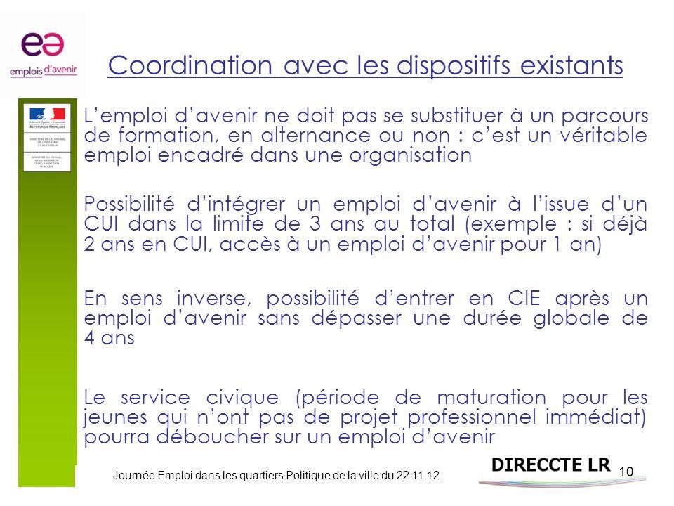Journée Emploi dans les quartiers Politique de la ville du 22.11.12 10 Coordination avec les dispositifs existants Lemploi davenir ne doit pas se subs