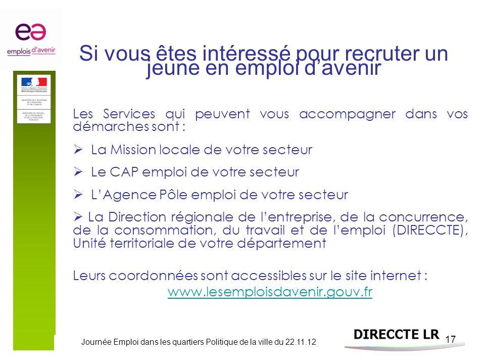 Journée Emploi dans les quartiers Politique de la ville du 22.11.12 17 Si vous êtes intéressé pour recruter un jeune en emploi davenir Les Services qu