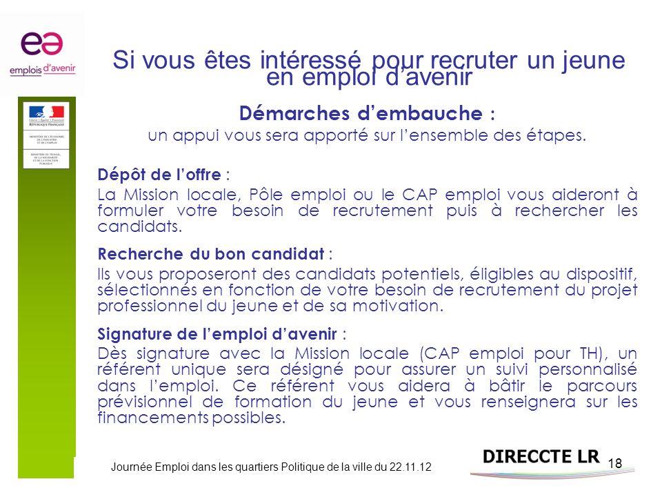 Journée Emploi dans les quartiers Politique de la ville du 22.11.12 18 Si vous êtes intéressé pour recruter un jeune en emploi davenir Démarches demba