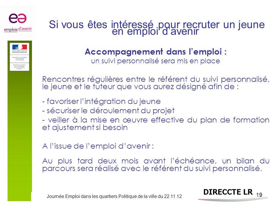 Journée Emploi dans les quartiers Politique de la ville du 22.11.12 19 Si vous êtes intéressé pour recruter un jeune en emploi davenir Accompagnement