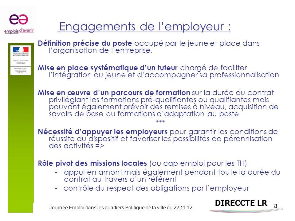 Journée Emploi dans les quartiers Politique de la ville du 22.11.12 8 Engagements de lemployeur : Définition précise du poste occupé par le jeune et p