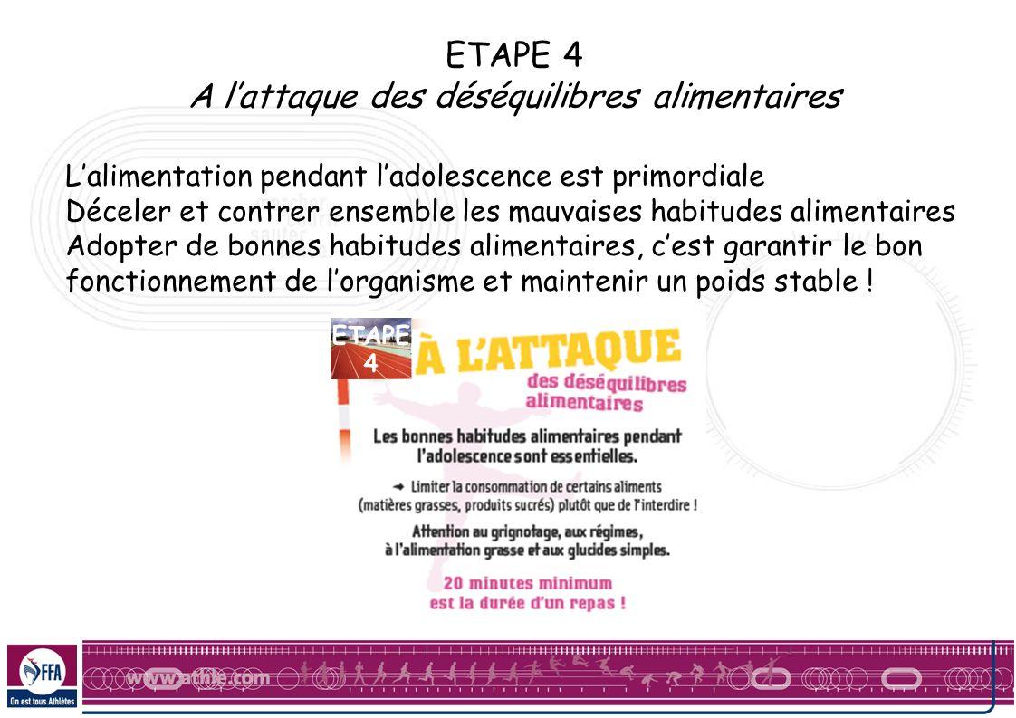 ETAPE 4 A lattaque des déséquilibres alimentaires Lalimentation pendant ladolescence est primordiale Déceler et contrer ensemble les mauvaises habitud