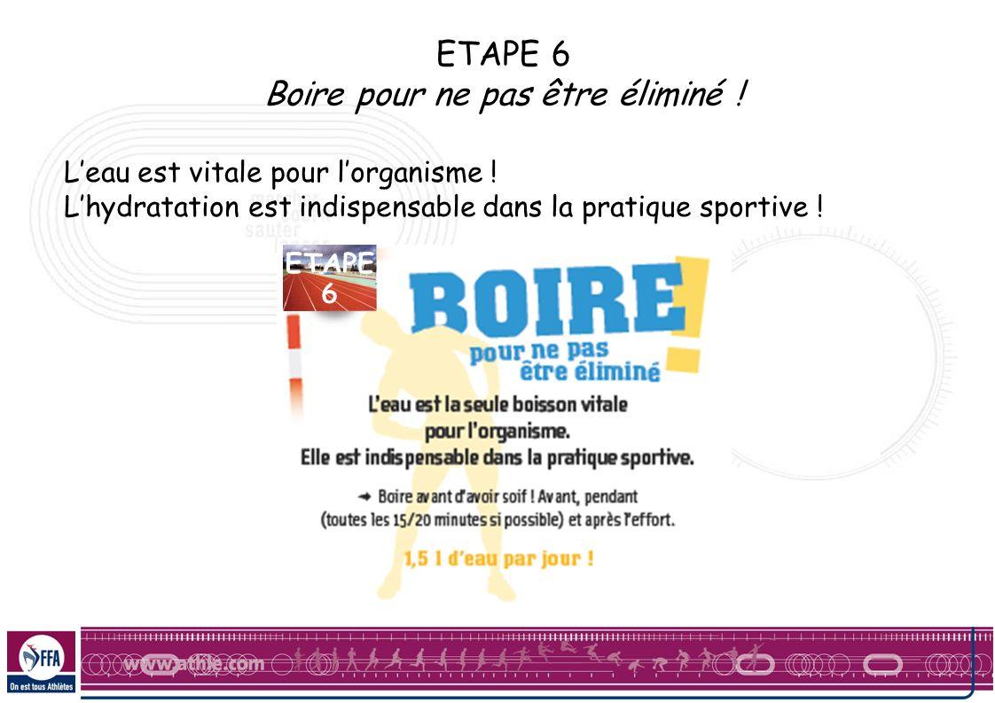 ETAPE 6 Boire pour ne pas être éliminé ! Leau est vitale pour lorganisme ! Lhydratation est indispensable dans la pratique sportive !