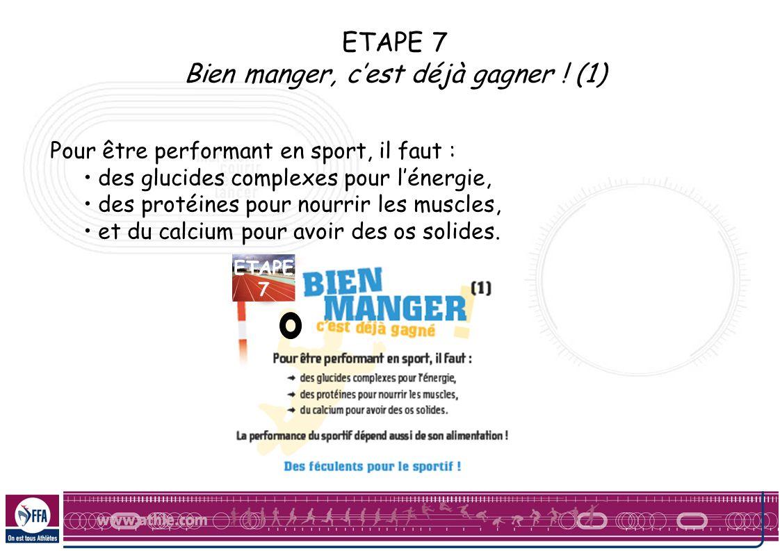 ETAPE 7 Bien manger, cest déjà gagner ! (1) Pour être performant en sport, il faut : des glucides complexes pour lénergie, des protéines pour nourrir