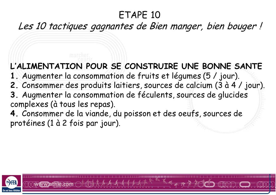 ETAPE 10 Les 10 tactiques gagnantes de Bien manger, bien bouger ! LALIMENTATION POUR SE CONSTRUIRE UNE BONNE SANTE 1. Augmenter la consommation de fru