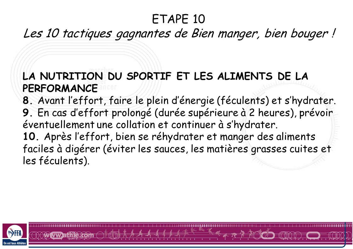 ETAPE 10 Les 10 tactiques gagnantes de Bien manger, bien bouger ! LA NUTRITION DU SPORTIF ET LES ALIMENTS DE LA PERFORMANCE 8. Avant leffort, faire le