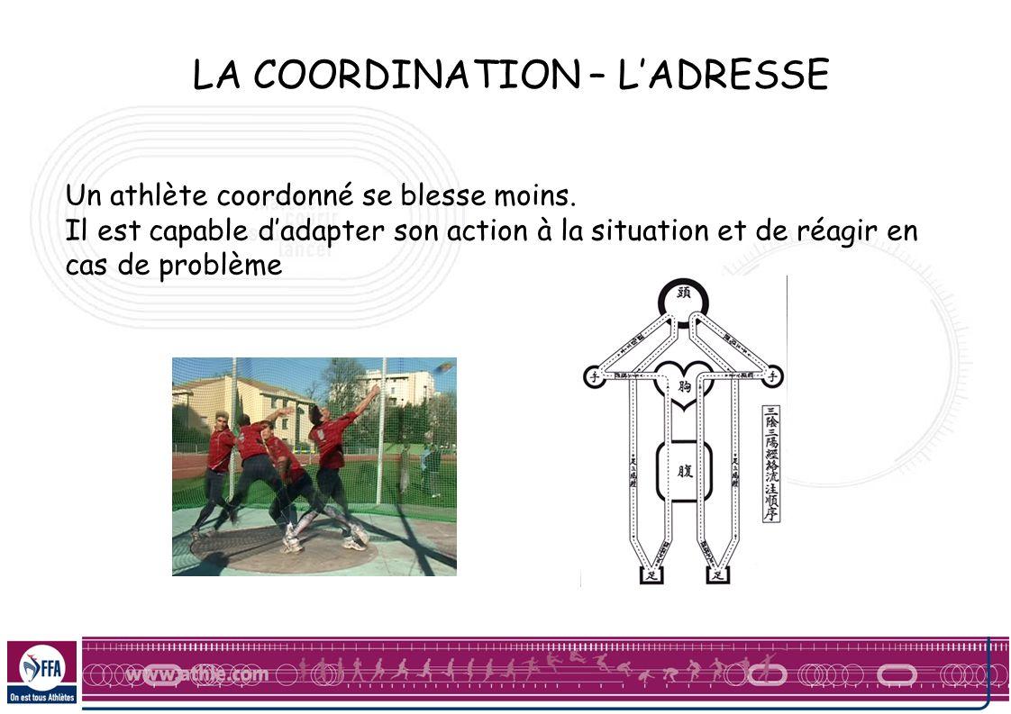LA COORDINATION – LADRESSE Un athlète coordonné se blesse moins. Il est capable dadapter son action à la situation et de réagir en cas de problème