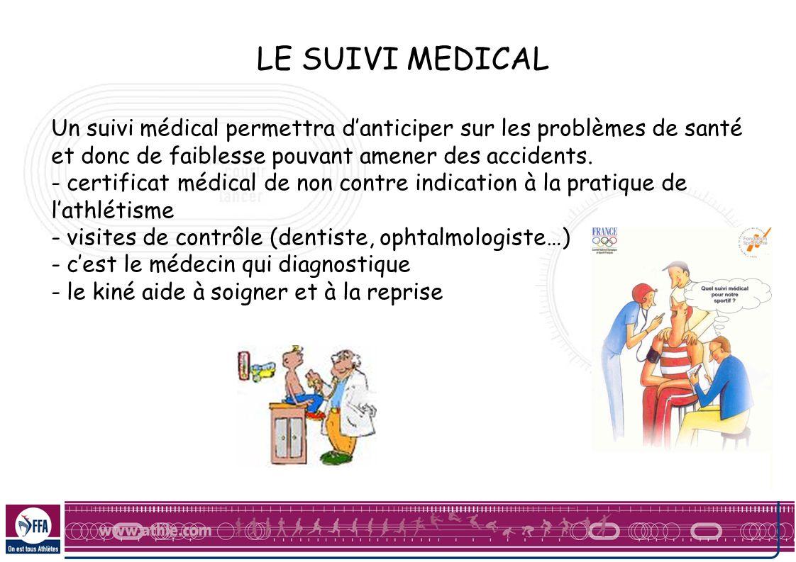 LE SUIVI MEDICAL Un suivi médical permettra danticiper sur les problèmes de santé et donc de faiblesse pouvant amener des accidents. - certificat médi