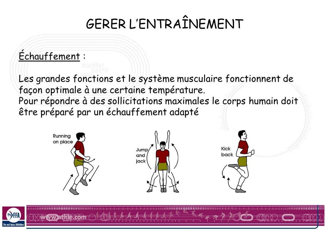GERER LENTRAÎNEMENT Échauffement : Les grandes fonctions et le système musculaire fonctionnent de façon optimale à une certaine température. Pour répo