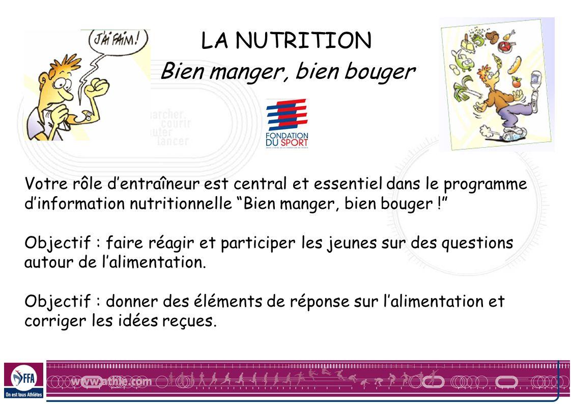 LA NUTRITION Bien manger, bien bouger Votre rôle dentraîneur est central et essentiel dans le programme dinformation nutritionnelle Bien manger, bien