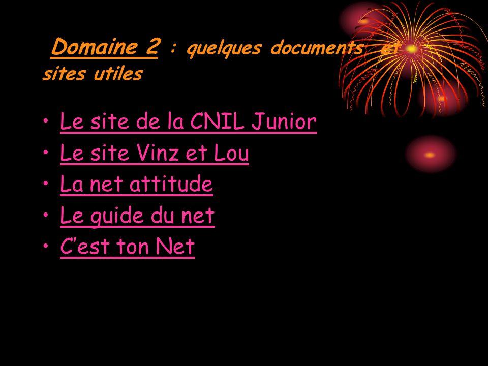 Domaine 2 : quelques documents et sites utiles Le site de la CNIL Junior Le site Vinz et Lou La net attitude Le guide du net Cest ton Net