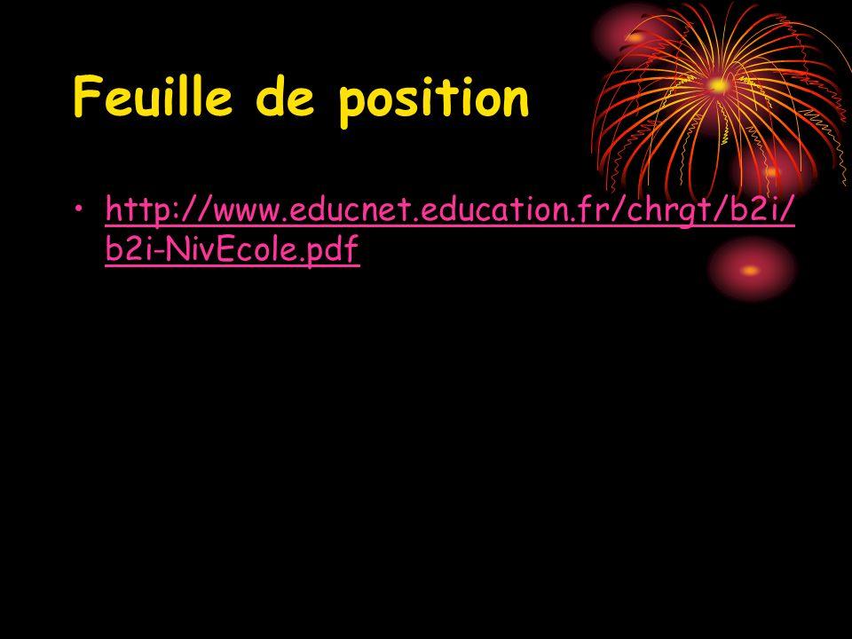 Feuille de position http://www.educnet.education.fr/chrgt/b2i/ b2i-NivEcole.pdfhttp://www.educnet.education.fr/chrgt/b2i/ b2i-NivEcole.pdf