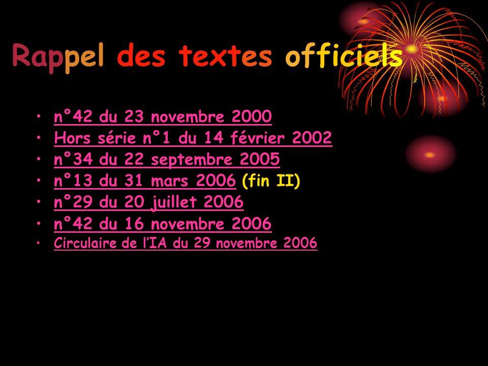 Rappel des textes officiels n°42 du 23 novembre 2000 Hors série n°1 du 14 février 2002 n°34 du 22 septembre 2005 n°13 du 31 mars 2006 (fin II) n°29 du 20 juillet 2006 n°42 du 16 novembre 2006 Circulaire de lIA du 29 novembre 2006