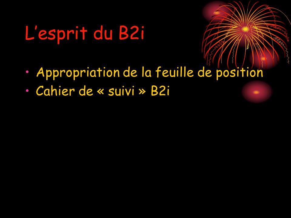 Lesprit du B2i Appropriation de la feuille de position Cahier de « suivi » B2i