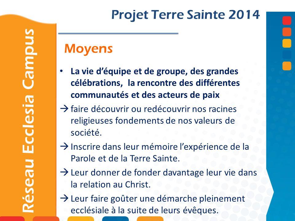 Moyens Projet Terre Sainte 2014 La vie déquipe et de groupe, des grandes célébrations, la rencontre des différentes communautés et des acteurs de paix