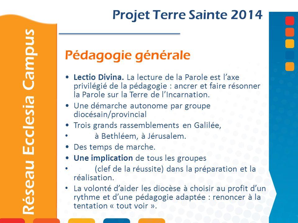 Pédagogie générale Projet Terre Sainte 2014 Lectio Divina. La lecture de la Parole est laxe privilégié de la pédagogie : ancrer et faire résonner la P