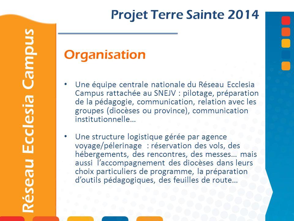 Organisation Projet Terre Sainte 2014 Une équipe centrale nationale du Réseau Ecclesia Campus rattachée au SNEJV : pilotage, préparation de la pédagog