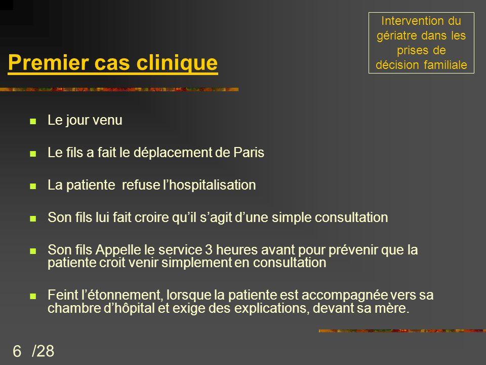 6 Le jour venu Le fils a fait le déplacement de Paris La patiente refuse lhospitalisation Son fils lui fait croire quil sagit dune simple consultation