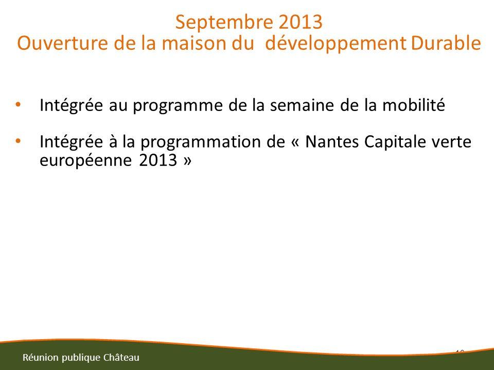 10 Réunion publique Château Septembre 2013 Ouverture de la maison du développement Durable Intégrée au programme de la semaine de la mobilité Intégrée