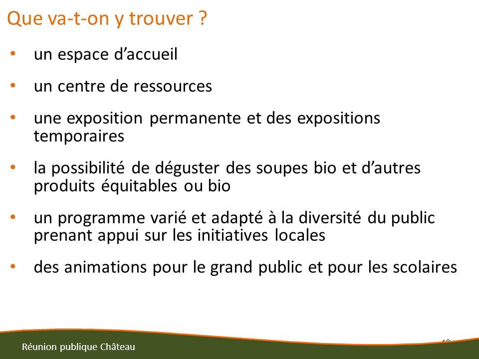 12 Réunion publique Château Que va-t-on y trouver ? un espace daccueil un centre de ressources une exposition permanente et des expositions temporaire