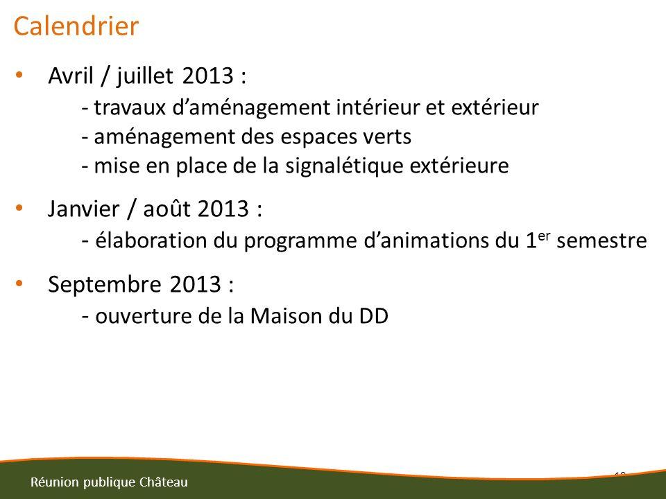 13 Réunion publique Château Calendrier Avril / juillet 2013 : - travaux daménagement intérieur et extérieur - aménagement des espaces verts - mise en