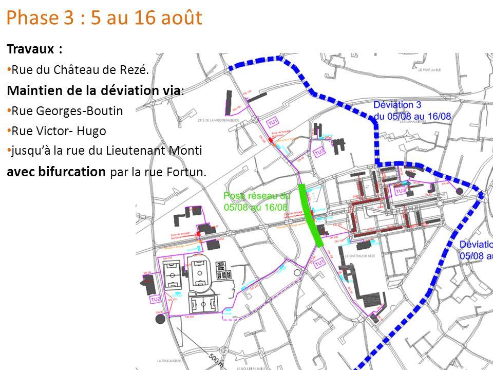 Travaux : Rue du Château de Rezé. Maintien de la déviation via : Rue Georges-Boutin Rue Victor- Hugo jusquà la rue du Lieutenant Monti avec bifurcatio
