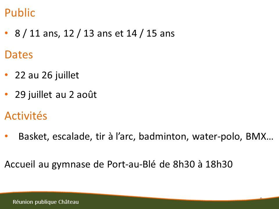 3 Réunion publique Château Public 8 / 11 ans, 12 / 13 ans et 14 / 15 ans Dates 22 au 26 juillet 29 juillet au 2 août Activités Basket, escalade, tir à larc, badminton, water-polo, BMX… Accueil au gymnase de Port-au-Blé de 8h30 à 18h30