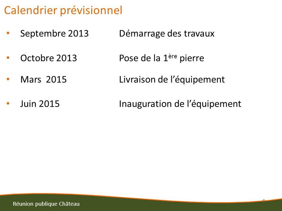 8 Calendrier prévisionnel Septembre 2013Démarrage des travaux Octobre 2013Pose de la 1 ère pierre Mars 2015Livraison de léquipement Juin 2015Inaugurat