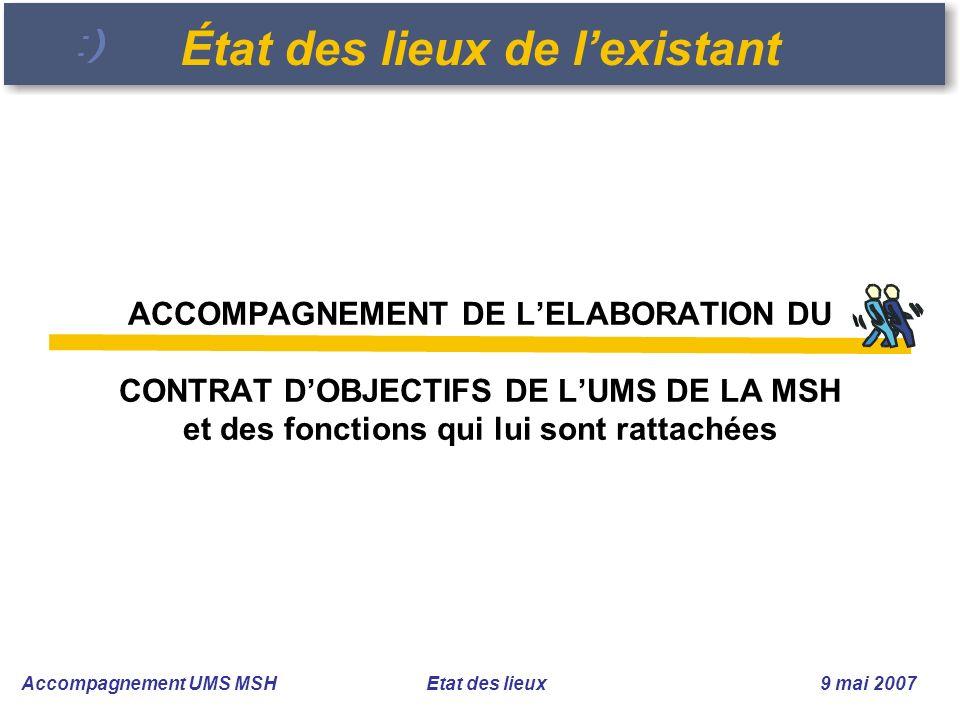 Accompagnement UMS MSH Etat des lieux 9 mai 2007 ACCOMPAGNEMENT DE LELABORATION DU CONTRAT DOBJECTIFS DE LUMS DE LA MSH et des fonctions qui lui sont rattachées État des lieux de lexistant