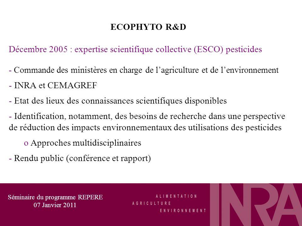 ECOPHYTO R&D Décembre 2005 : expertise scientifique collective (ESCO) pesticides - Commande des ministères en charge de lagriculture et de lenvironnement - INRA et CEMAGREF - Etat des lieux des connaissances scientifiques disponibles - Identification, notamment, des besoins de recherche dans une perspective de réduction des impacts environnementaux des utilisations des pesticides o Approches multidisciplinaires - Rendu public (conférence et rapport) Séminaire du programme REPERE 07 Janvier 2011