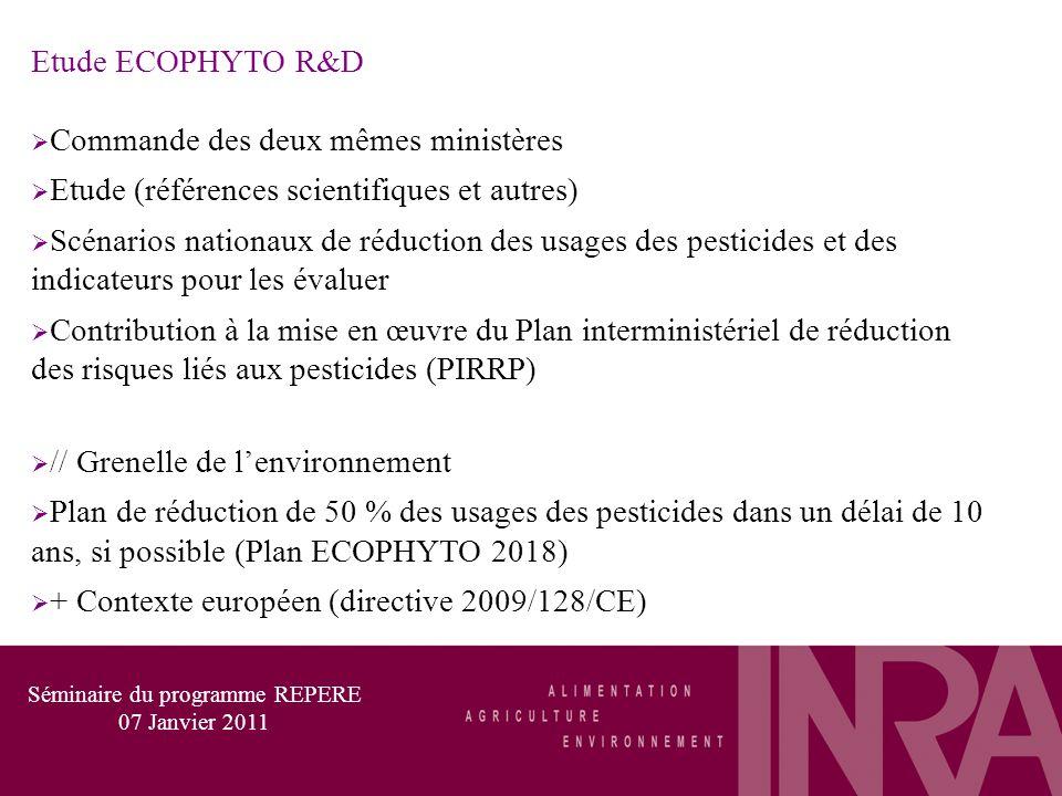 Etude ECOPHYTO R&D Commande des deux mêmes ministères Etude (références scientifiques et autres) Scénarios nationaux de réduction des usages des pesticides et des indicateurs pour les évaluer Contribution à la mise en œuvre du Plan interministériel de réduction des risques liés aux pesticides (PIRRP) // Grenelle de lenvironnement Plan de réduction de 50 % des usages des pesticides dans un délai de 10 ans, si possible (Plan ECOPHYTO 2018) + Contexte européen (directive 2009/128/CE) Séminaire du programme REPERE 07 Janvier 2011