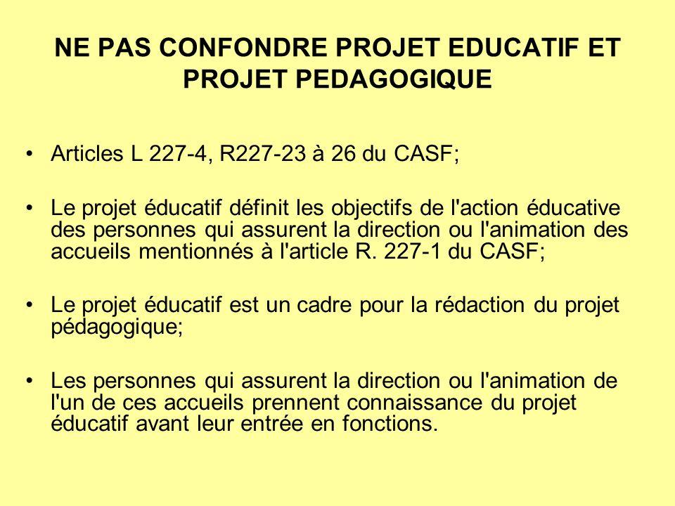 NE PAS CONFONDRE PROJET EDUCATIF ET PROJET PEDAGOGIQUE Articles L 227-4, R227-23 à 26 du CASF; Le projet éducatif définit les objectifs de l'action éd
