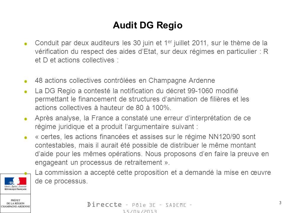 Direccte – Pôle 3E – SADEME – 15/04/2013 3 Audit DG Regio Conduit par deux auditeurs les 30 juin et 1 er juillet 2011, sur le thème de la vérification du respect des aides dEtat, sur deux régimes en particulier : R et D et actions collectives : 48 actions collectives contrôlées en Champagne Ardenne La DG Regio a contesté la notification du décret 99-1060 modifié permettant le financement de structures danimation de filières et les actions collectives à hauteur de 80 à 100%.
