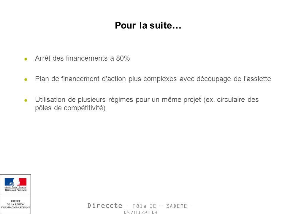 Direccte – Pôle 3E – SADEME – 15/04/2013 Pour la suite… Arrêt des financements à 80% Plan de financement daction plus complexes avec découpage de lassiette Utilisation de plusieurs régimes pour un même projet (ex.