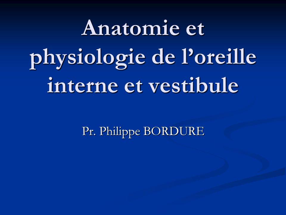 Anatomie et physiologie de loreille interne et vestibule Pr. Philippe BORDURE