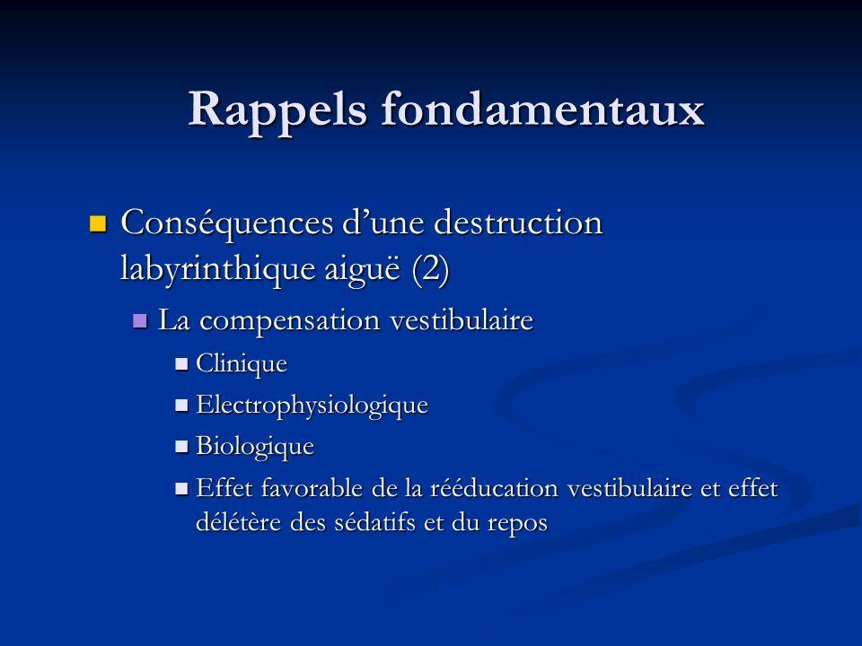 Rappels fondamentaux Conséquences dune destruction labyrinthique aiguë (2) Conséquences dune destruction labyrinthique aiguë (2) La compensation vesti