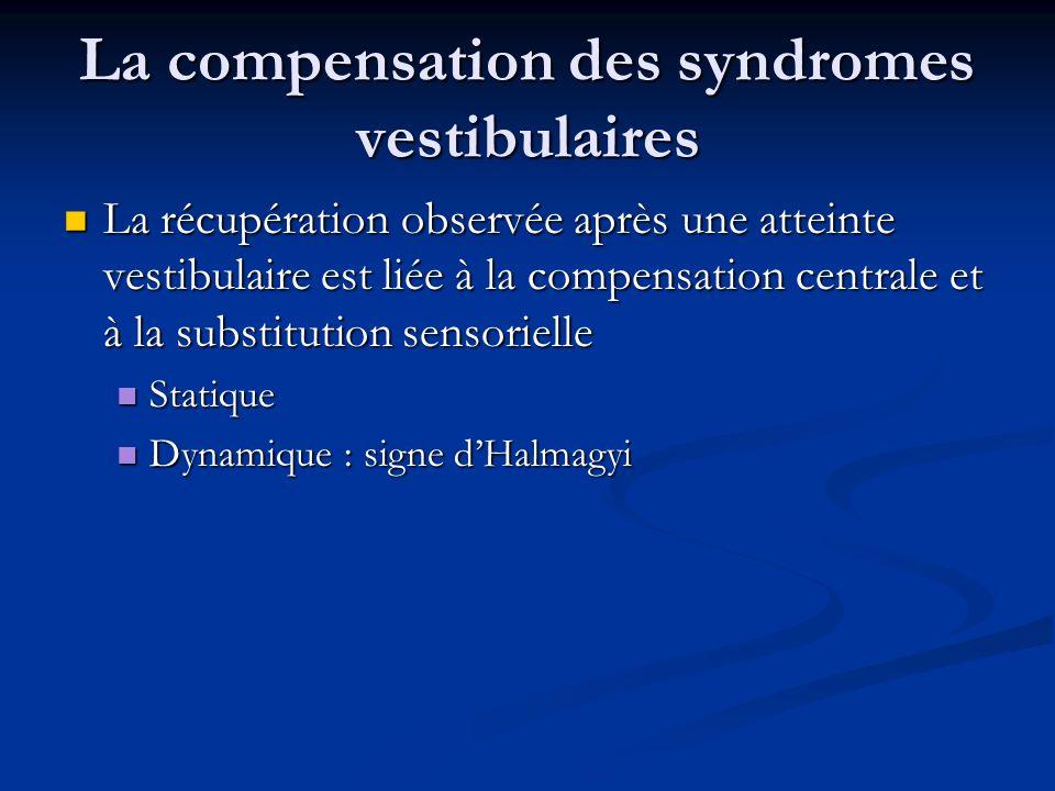 La compensation des syndromes vestibulaires La récupération observée après une atteinte vestibulaire est liée à la compensation centrale et à la subst