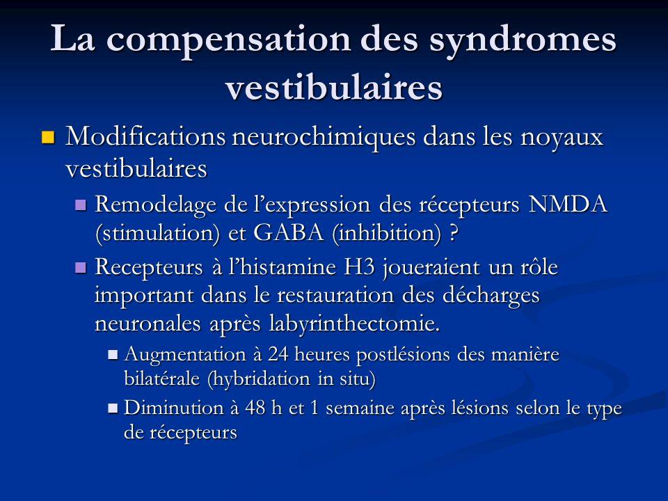 La compensation des syndromes vestibulaires Modifications neurochimiques dans les noyaux vestibulaires Modifications neurochimiques dans les noyaux ve