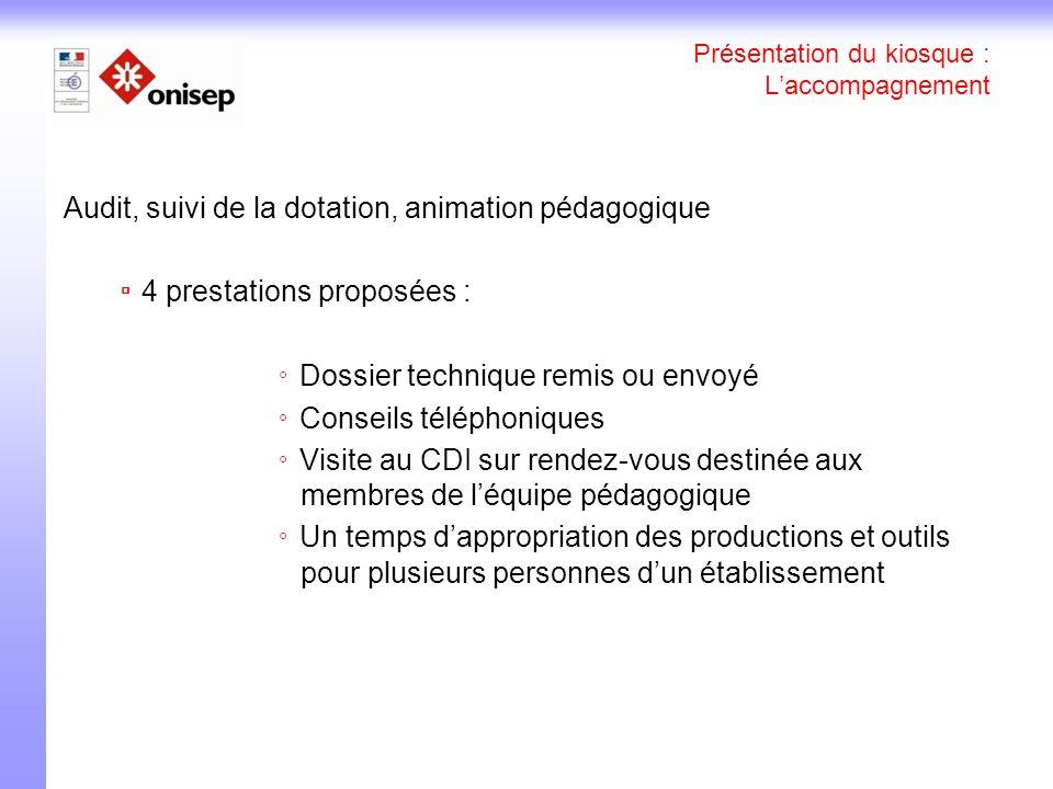 Présentation du kiosque : Laccompagnement Audit, suivi de la dotation, animation pédagogique 4 prestations proposées : Dossier technique remis ou envo
