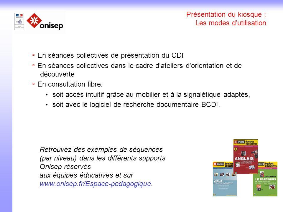 Présentation du kiosque : Les modes dutilisation En séances collectives de présentation du CDI En séances collectives dans le cadre dateliers dorienta