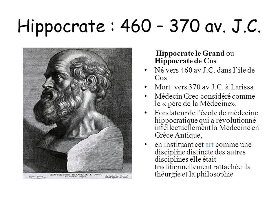 Hippocrate : 460 – 370 av. J.C. Hippocrate le Grand ou Hippocrate de Cos Né vers 460 av J.C. dans lîle de Cos Mort vers 370 av J.C. à Larissa Médecin